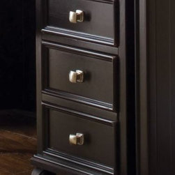 """American Drew 919-941 File/ Drawer Cabinet Camden - Black - File/ Drawer Cabinet - American Drew Camden - Black Collection 919-941This triple-drawered Drawer Cabinet by American Drew is an ideal store for your belongings. It confidentially harbors your treasure. The black wooden material is assuredly non-perishable. Its commendable shine revamps the arena. The subtle contrast of black and silver makes it praiseworthy classic piece. The product does need some regular wipes to keep its shine intact. The calm and serene view of American Drew 919-941 soothes its viewers.Features:4 Casters2 DrawersFile storage in bottom drawerThis Price Includes:File/ Drawer CabinetItem:Weight:Dimensions:File/ Drawer Cabinet64 lbs16"""" W X 22"""" D X 24"""" HManufacturer's Materials:Hardwood SolidsMaple Ash Veneers & Select Hardwoods"""