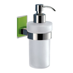 Gedy - Frosted Glass Soap Dispenser With Green Mounting - Modern, contemporary style wall mounted hand soap dispenser.
