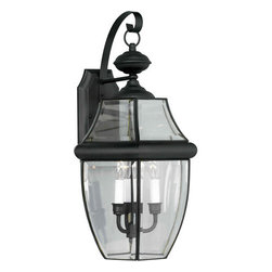Forte Lighting - Forte Lighting 1601-03 Outdoor Wall Sconce from the Exterior Lighting Collection - *Exterior wall sconce in an antique pewter finish with clear beveled side glass