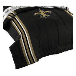 The Northwest Company - NFL New Orleans Saints Football Twin-Full Bed Comforter Set - Features: