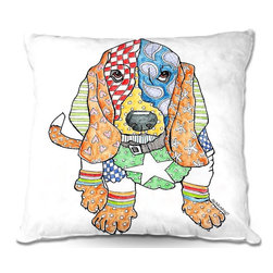 DiaNoche Designs - Pillow Woven Poplin by Marley Ungaro - Basset Dog - Toss this decorative pillow on any bed, sofa or chair, and add personality to your chic and stylish decor. Lay your head against your new art and relax! Made of woven Poly-Poplin.  Includes a cushy supportive pillow insert, zipped inside. Dye Sublimation printing adheres the ink to the material for long life and durability. Double Sided Print, Machine Washable, Product may vary slightly from image.