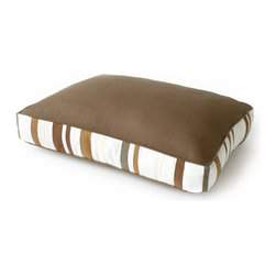 Side Stripe Dog Bed - 36 x 24 - Placing a dog bed among your furnishings need not inspire dread. A blend of solid and stripe fabrics imparts distinctive flair to this resting place for your four-footed friend. The Side Stripe Dog Bed boasts a solid khaki top complemented by khaki, gray, and white stripes that adorn the four sides. Fashioned from a highly durable fabric, the dog bed offers welcoming comfort for your pet and graceful beauty for your abode.