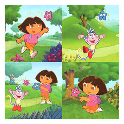 Borders Unlimited - Dora Explorer Star Catcher Peel-n-Stick Wall Art Sticker Set - FEATURES: