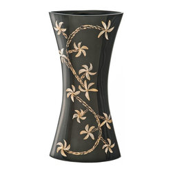 Kouboo - Y-Shaped Vase with Flower Motif, Black - This uniquely-shaped vase is delicately handcrafted using flowers and garlic peel. This distinctive accent piece holds water for your favorite fresh-cut tropical blossoms.1 year limited warrantyDelicately hand-crafted using flowers and garlic peelHolds water for fresh cut flowersWeighs 2 lbs