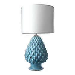 Marine Magnolia Ceramic Lamp with White Fabric Shade - This refreshing lamp has a pineapple-like texture, a gorgeous glossy blue glaze and will add loads of light and personality to any space.