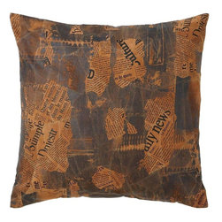 Benzara - Decorative Real Leather Pillow with Newspaper Cut-Out Prints - Creatively enhance your home decor by selecting this amazing real leather pillow which ranks high in comfort as well as style. You can use it on your couch to give your living room a striking appeal. The leather surface feels and looks real as it still retains perfect color and texture. The distinct feature in this leather pillow is surely the newspaper cut-outs that are printed randomly all over the surface which enhances the overall appeal. Besides, the stitching work for combining different leather pieces into one reflects creativity. It is a major highlight that binds this tough leather pillow. It is stuffed with royal cotton stuffing to ensure that it stays in best shape for a longer time. This pillow is crafted from genuine quality real animal leather that is rare to find in pillows and which also ensures its durability..