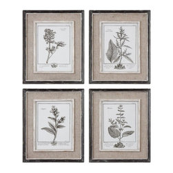 Uttermost - Uttermost Casual Grey Study 18x15 Framed Wall Art I, II, III, IV (Set of 4) - Prints are surrounded by light tan burlap mats. Frames have a heavily distressed black finish with a gray and taupe wash. The inner lips and liners have a medium wood tone base with heavily distressed painted white finish with a gray & taupe glaze.