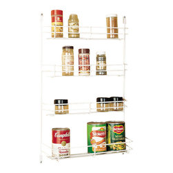 """Rev-A-Shelf - Rev-A-Shelf 565-8-52 8"""" Door Mount Spice Rack - White/Wire - Are you running out of space in your kitchen? Well then, this spice rack is perfect for you. It has four tiers, (three small tiers and one large tier) and is perfect for all of kinds of spices and even some canned items. It is a very easy to install; just screw down four clips and you are ready to use your amazing new space saver. The Rev-A-Shelf 565-8-52 Door Mount Spice Rack is made with heavy-gauge wire, so you know it is strong. Size Specifications: 7-7/8"""" W x 4-1/8"""" D x 21-3/8"""" H. Top Shelves: 2-3/8"""" D, Bottom Shelf: 4-1/8"""" D. Please make sure your cabinet has a minimum opening of at least 9"""" W x 4-1/4"""" D x 21-1/2"""" H to ensure a proper fit."""
