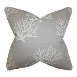 The Pillow Collection - Hafwen Coastal Pillow Gray - Finish off your home with this beach-inspired throw pillow. This toss pillow features a coastal print in shades of gray. Place this accent pillow in your living room, bedroom or lounge area. Made of 100% high-quality cotton fabric and crafted in the USA. Hidden zipper closure for easy cover removal.  Knife edge finish on all four sides.  Reversible pillow with the same fabric on the back side.  Spot cleaning suggested.