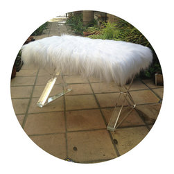 Custom Bench With Faux Flokati Sheepskin Fur and Lucite Legs by Mi Vida Vintage - This artist custom builds furniture, including pieces like this bench. You can also order the legs separately if you want to create your own table.