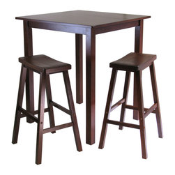 Winsome Wood - Winsome Wood Parkland 3 Piece Square High/Pub Table Set w/ 2 Saddle Seat Stools - 3 Piece Square High/Pub Table Set w/ 2 Saddle Seat Stools belongs to Parkland Collection by Winsome Wood Sometimes simplicity speaks volumes and with the Parkland High Table, it comes on loud and clear. A rich and warm walnut finish lends itself to a cozy invitation to pull up a chair and relax for awhile. The two comfortable saddle-seat chairs complement the table design and fit easily under the table when not in use: a casual, rustic look with a hint of Western flair. The 3-piece set is an ideal size that will look great in the kitchen or small dining area. Pub Table (1), Stool (2)