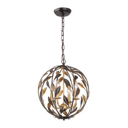 Crystorama - Crystorama 504-EB-GA Broche 4 Light Chandeliers in English Bronze - From the French brooch, the Broche collection lights up a room with tailored elegance. The simple wrought iron leaves on each light are hand painted in one of two metallic finishes - burnished antique gold or English bronze. There''s also a two-tone sphere option that embraces one of fashion''s hottest trends - mixing metals.