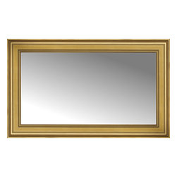 "Posters 2 Prints, LLC - 43"" x 27"" Arqadia Gold Traditional Custom Framed Mirror - 43"" x 27"" Custom Framed Mirror made by Posters 2 Prints. Standard glass with unrivaled selection of crafted mirror frames.  Protected with category II safety backing to keep glass fragments together should the mirror be accidentally broken.  Safe arrival guaranteed.  Made in the United States of America"