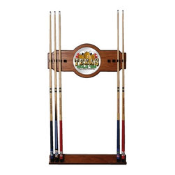Trademark Global - Wood Wall Billiard Cue Rack w Texas Holdem Lo - Cue sticks not included. 8 Cue capacity. Furniture grade look. 2 pc. Medium oak veneered wood cue rack. 10 in. Dia. full color logo mirror. 30 in. L x 13 in. W x 4 in. H (15 lbs.)This Texas Hold 'em Wood/Mirror Wall Cue Rack will fit in the decor of your billiard room.