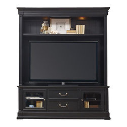 """Hooker Furniture - Clermont Two Piece Entertainment Group - Black - White glove, in-home delivery included!  Furniture assembly included!  The stately traditional home office group, Clermont, is featured in cherry veneers and hardwood solids in a clear medium finish with medium sheen and very light physical distressing with traditional bail pull hardware in an antique nickel finish.  Comes in Cherry or Black finish.  Consists of: Entertainment Console and Entertainment Console Hutch.  Entertainment Console - Two wood-framed beveled glass doors with one adjustable shelf behind each, two utility drawers with dividers for CD/DVD storage, one three plug electrical outlet, removable waist and base molding (without the molding the console can be bunched with side piers.)  Entertainment Console Hutch - One adjustable shelf, two lights controlled by three-intensity touch switch.  TV space (Inside pilasters): 64 7/8"""" w x 18 1/8"""" d (Inside end panels): 68 7/8"""" w x 18 1/8"""" d  Shelf heights above console: 37 7/8"""", 40 3/8"""", and 42 7/8"""" h"""
