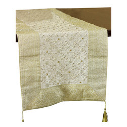 Banarsi Designs - Mystic Dabka Luxury Table Runner - Don't just buy one — this chic table runner makes an ideal gift. Hand embroidered in India, it features an elegant border and intricate center design. It will transform your table into a work of art.