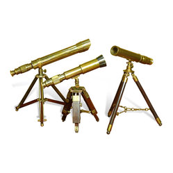 Interlude Home - Cheshire Tabletop Telescopes, Set of 3 - See the stars and beyond. These tabletop telescopes, in three different sizes, at once call to mind the age of exploration and uncharted universes. In an antique brass finish, they will add some adventure to your global home.