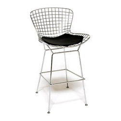 Fine Mod Imports - 21 in. Contemporary Bar Stool - Set of 2 - Set of 2. Contemporary style. Leatherette seat pad with polyurethane foam. Steel wire mesh with chrome feet. Warranty: One year. Black color. Assembly required. Seat height: 30 in.. Overall: 21 in. W x 23 in. D x 46 in. H (10 lbs.)