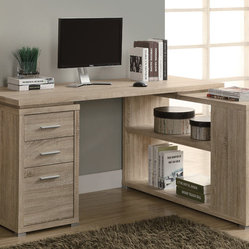 Monarch Specialties 7219 Corner Desk in Natural
