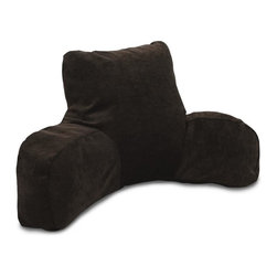 Majestic Home Goods - Villa Storm Reading Pillow - Now you can kick back and relax anywhere with this comfortable and supportive reading pillow. The Majestic Home Goods Villa reading pillow provides back and head support that is perfect for many activities such as reading, watching TV or playing video games. Stuffed with a super loft recycled polyester fiber fill, the reading pillows zippered slipcover is woven from 100% polyester Micro-velvet. Spot clean slipcover with mild detergent and hang dry. Do not wash insert.
