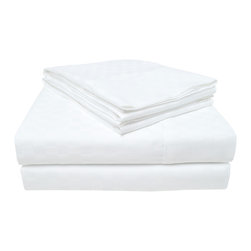 """300 Thread Count Checkered Cotton Sheet Set - Full, White - Revitalize you bedroom with these brightly colored 300 Thread Count Checkered Cotton Sheets. These sheets are soft, comfortable, and feature a beautiful checkered pattern that is a great addition to any bedroom. Set includes one flat sheet 81""""x96"""", one fitted sheet 54""""x75"""", and two pillowcases 21""""x31"""" each."""