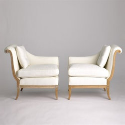 Jan Showers Danielle Tete-a-Tete - Oh my, is there a more perfect pair than this one? I love the way Jan Showers takes traditional pieces and redesigns them in a contemporary way. This split-in-half settee look is a perfect example.