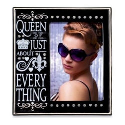 """Amscan, Inc. - Queen of Everything 4-Inch x 6-Inch Photo Frame - Frame a picture of the queen of your heart (or yourself, if you feel you should be crowned). This black frame with jewel details reads """"Queen of just about everything."""" Glazed ceramic frame. Measures 8"""" x 7"""" overall. Comes gift boxed. Imported."""