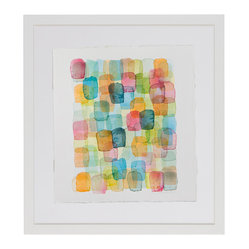 Chris Crossen - chris crossen original watercolor on paper, framed - This lively watercolor by Chris Crossen is like a piece of candy on your wall. Sweet and colorful, this original watercolor on paper adds a bit of fun to your home.