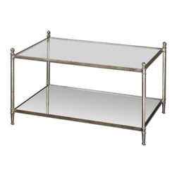 Uttermost - Uttermost 24281  Gannon Mirrored Glass Coffee Table - Forged iron frame in antiqued silver leaf with clear, tempered glass top and mirrored gallery shelf.