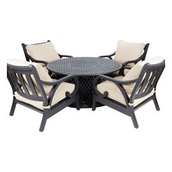 """Well Travel - Lombok Gas Fire Pit Chat Group - Our new Lombok Gas Fire Pit Chat Group is constructed of cast aluminum with our unique antique bronze finish. This set includes four armchairs with back and bottom beige outdoor cushions and a 53"""" round gas fire pit. The attractive antique bronze finish is the perfect accent for any patio. Constructed of cast aluminum, the chairs and table are solid and extremely durable. The gas fire pit not only functions as a fire pit, but an outdoor patio table as well with its convenient cast aluminum fire bowl lid. Our chat group is perfect for entertaining your guests and keeping them warm with its 40,000 BTU burner fire pit. This chat group can be used all year round and provides a maintenance free outdoor dining experience."""