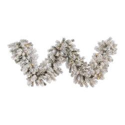 "Vickerman - Flocked Aspen Garl100WmWht LED (9' x 16"") - 9' x 16"" Flocked Aspen Garland , 180 PVC Tips and 100 Warm White Italian LED Lights"
