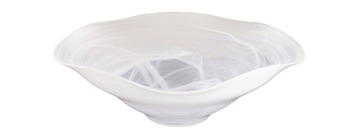"""Traders and Company - Large White Glass Bowl Centerpiece w/ Opaque White Swirl - 17.5""""Dx5.75""""H - Make a statement on your dining room or living room table with this opaque glass white-swirled centerpiece bowl. Modeled after splashes in water, these large bowls accent and update any space. Each piece unique. Alternate shapes & styles sold separately. Hand wash only; not for use in dishwasher, microwave, or oven."""