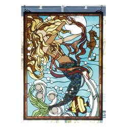 """Meyda Tiffany - Meyda Tiffany 78086 Stained Glass Tiffany Window Seashore Collection - 19"""" W X 26"""" H Mermaid Of The Sea WindowClear Glass Jewel Bubbles And Rippling Aqua Waters Surround A Enchanting Mermaid In This Meyda Tiffany Designer Original Window. Her Hair Of Gold And Brown Float Endlessly In The Water of Tranquil BlueIncludes Mounting Brackets and Chains"""