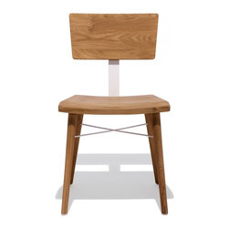 Industry West - Aesop Chair - An original design by Jonas Wahlstrom of Sweden in 2012, the Aesop chair is the most elegant blend of form and function. A perfect marriage of wood and steel, this piece is ideal for consumer use as well as the most high traffic commercial environment. This item is hand crafted of reclaimed French Oak and each time is assembled by hand and individually numbered.