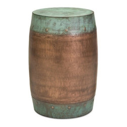 """IMAX - Rania Copper-Plated Stool - The Rania stool features a solid iron foundation with a copper-plated design. Item Dimensions: (19.25""""h x 15""""w x 15"""")"""