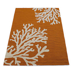Coral Area Rug, Orange - Feeling beachy or nautical? This rug is for you. It's simple and not too busy, and it adds the right pop of color to a room.