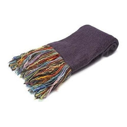 Belle & June - Purple Mohair Throw - Let it all hang out with this eclectic throw that is just as cool as it is cozy. Made from recycled yarn in angora fashion, this fine fabric with its vibrant, multicolored fringe will fit into your home décor while making a bold statement with bohemian style.