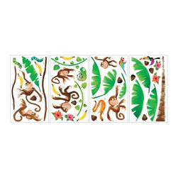 RoomMates Peel & Stick - Monkey Business Wall Decals - These cute monkeys are the perfect addition to a jungle-themed bedroom or kid's play area! Application is easy: just peel each pre-cut sticker from the liner, then smooth it on the wall. But our decals aren't only for walls! Try using them on doors, furniture, mirrors, windows, or any other smooth, flat surface. You'll love the fun and character they bring to any room!