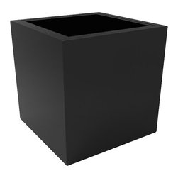Large Athens Planter - Black - Featuring a versatile design and simple shape, this modern patio planter is the perfect compliment to contemporary and traditional spaces alike. Made from a non-toxic food grade polymer based fiberglass resin, these modern planters will never rot, mildew, split, cup, or warp.This material offers an unparalleled combination of uniformity, durability and beauty. Whether exposed to salt water the rough and tumble of everyday wear and tear of home or commercial use, the planter's  gel coat maintains a beautiful finish no matter how tough the conditions get.