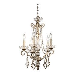 "Kichler - Crystal Gracie Collection 5-Light Chandelier - From Kichler's Gracie Collection this distinctively glamorous five-light chandelier will bring a touch of antique chic to your decor. The Sunrise Mist finish is a hybrid of silver and gold leafing that results in a dramatic effect. K9 opal crystals are outlined in decorative metal trim while pearl bead details add an airy flow. Sunrise Mist finish. K9 opal crystals. Pearl bead details. Takes five 60 watt candelabra bulbs (not included). 17"" wide. 26"" high. 100"" overall height. Hang weight of 15 lbs.  Sunrise Mist finish.   K9 opal crystals.   Pearl bead details.   From the Kichler lighting collection.  Takes five 60 watt candelabra bulbs (not included).   17"" wide.   26"" high.   100"" overall height.   Hang weight of 15 lbs."