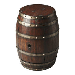Butler Specialty Furniture - Mountain Lodge Barrel Table 2520120 - Crafted from solid wood and wood products thtat are bound six polished metal bands, this Barrel Table features a surprisingly large storage area behind the door with a hole that would make any bird proud. Only listed product included.