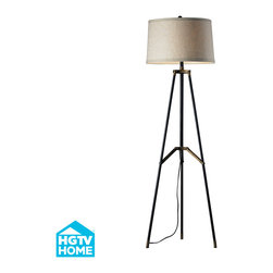 Dimond Lighting - Vergato 1-Light Floor Lamp in Restoration Black and Aged Gold - Dimond Lighting HGTV310 Vergato 1-Light Floor Lamp in Restoration Black and Aged Gold