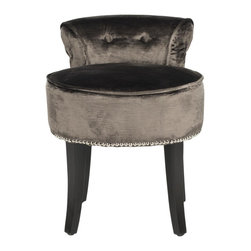 Safavieh - Georgia Vanity Stool - Mink - The adorable Georgia vanity chair is petite enough to tuck in a bathroom or bedroom, and brimming with feminine style. Graceful birch wood legs finished in expresso, deep seat and diminutive button tufted back are designed for indulgent comfort. Upholstered with mink cotton/viscose velvet with self-welting and nailhead trim for a decorator touch.