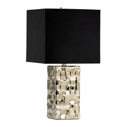 Kathy Kuo Home - Java Masculine Chunky Silver Square Table Lamp - Mod and masculine, this silver and black table lamp is also a lesson in multiplication: multiplying light in its ceramic body and in the mirrored paper which lines its shade.  Mid century enthusiasts and bold urbanites will love this brilliant light.