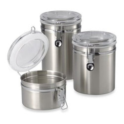 Oggi - Brushed Stainless Steel Canister - Airtight, high-polished stainless steel canisters keep your food fresh. See-through lids enable you to see what you've stored without opening.