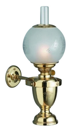 """Weems & Plath Classic Yacht Lamp - The Classic Yacht Lamp is specially designed to burn brightly in seagoing vessels. It features four-way gimbals and a 5"""" handmade acid-frosted globe that is securely fastened with a clip-on spring in stainless steel. It is made with hand polished and lacquered brass and has a .24"""" circular burner. It weighs 5 lbs. 5 oz., it is 14.17"""" tall, it has a oil container capacity of 11 oz., and it's burn time is +/- 23 hours with clean burning lamp fuel. It was designed and made using models and tools dating back to the end of the 19th century. It is crafted from the finest quality brass available, it is numbered individually and it is hand lacquered, requiring no polishing."""