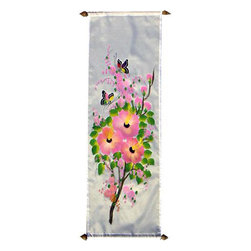 Oriental-Decor - Fragrant Garden Oriental Scroll - Flowers represent the Yin or feminine essence of life. Use this scroll to add serenity and beauty to any room.