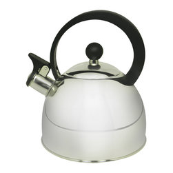 PRIME PACIFIC - 2 Liter Stainless Steel Whistling Tea Kettle - This whistling kettle is made of .35 mm stainless steel. It has a shiny exterior, with a bakelite plastic handle for added safety. It comes in a 2 liter capacity.