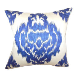 The Pillow Collection - Icerish Ikat Pillow Navy - With its scene-stealing traditional ikat design, this throw pillow will radiate positive vibes in your home. The fabric is made from 100% soft cotton. The navy blue ikat print in this accent pillow is captivating. You can mix and match this square pillow with other ikat prints in complementary colors. Hidden zipper closure for easy cover removal.  Knife edge finish on all four sides.  Reversible pillow with the same fabric on the back side.  Spot cleaning suggested.