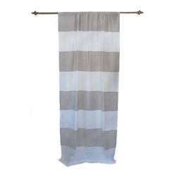 Anna Marty Designs - Organic Light Grey and White Horizontal Stripe Curtain Panel - Organic light grey and white horizontal striped curtain panel by Anna Marty Designs. Instantly bring a modern update to your home! Unlike most striped fabrics, this curtain has a great sense of depth, and high end finish as the stripes are sewn on top of the white curtain base.